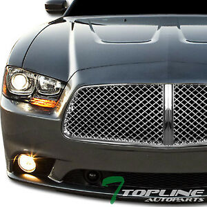 Topline For 2011 2014 Dodge Charger Mesh Front Hood Bumper Grill Grille Chrome
