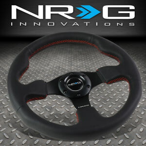 Nrg Reinforced 320mm Aluminum Type R Black Leather Red Stitch Steering Wheel