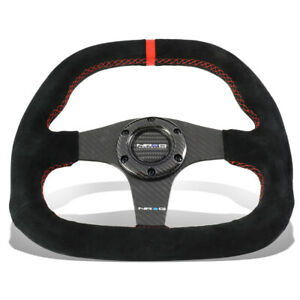 Nrg 32cm Carbon Fiber Flat Bottom Suede Red Center Strip stitch Steering Wheel