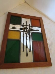 Vtg Brutalist Nail Cross Wall Art 15 X 11 Lag Stained Glass Starburst Mirror