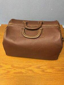Vintage Brown Leather Medicine Bag Medical Doctors Bag Estate Find