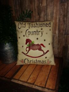 Primitive 10x12in Oldfashiond Christmas Pillow Stuffed Country Old Rusty Doll