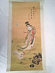 Vintage Or Antique Chinese Or Japanese Hanging Silk Scroll Painting Chickens