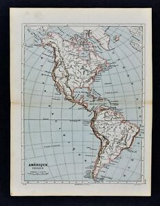 1885 Cortambert Map North South America United States Brazil Canada Argentina