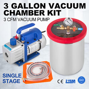 3cfm Vacuum Pump 3 Gallon Vacuum Chamber Kit 1 4hp 220ml Stainless Steel