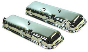 Bbc Big Block Chevy 396 454 Chrome Steel Short Reproduction Valve Cover 3 Hole