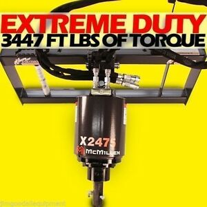 Skid Steer Auger Extreme Duty all Gear Drive mcmillen X2475 Hex W 9 Auger Bit