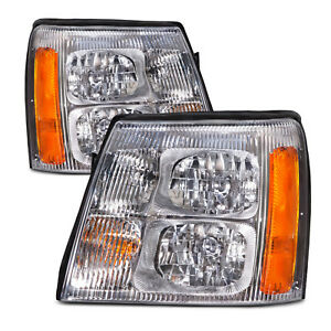 Headlights Set Left Right Pair Fits 2002 Cadillac Escalade W o Hid