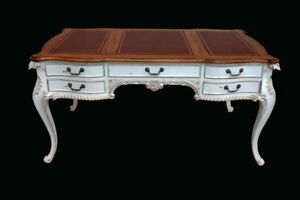 French Country Chateau Blanc Carved Mahogany Shabby Chic Writing Desk 63 w