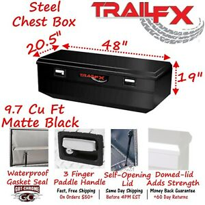 151483s Trailfx 48 Matte Black Steel Truck Bed Chest Tool Box Wedge