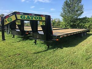 Flatbed Gooseneck 10 Ton Deckover Hd Equipment Trailer 30ft Flat Bed 24 9k Gvwr