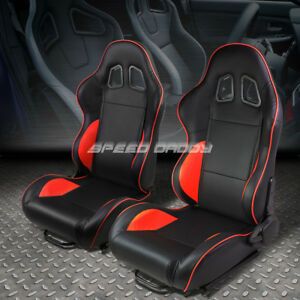 Pair Black red Piping Fully Reclinable Pvc Leather Type r Racing Seats W sliders