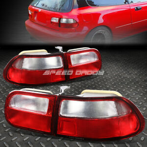 For 1992 1995 Honda Civic Eg Eh Ej Red Clear Tail Light Rear Brake Reverse Lamp