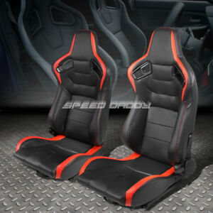 Pair Black Red Fully Reclinable Pvc Horizontal Stitch Racing Seats W Sliders