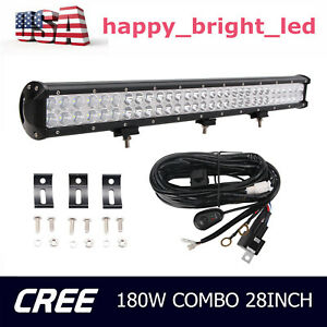 396w 28 in Led Light Bar 7d Tri row Combo Gmc Ram Ford Off road Boat Truck 180w