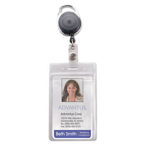 Advantus Resealable Id Badge Holder Cord Reel Vertical 2 5 8 X 3 3 4 Clear