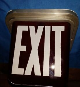 Vintage Kopp Ruby Red Glass 2 Sided Lighted Exit Sign Fixture Mount back Plate