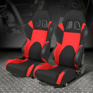Pair Black Center red Trim Reclinable Woven Fabric Type r Racing Seats W sliders