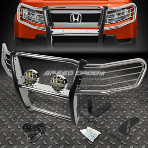 Chrome Brush Grill Guard Round Smoke Fog Light For 03 11 Honda Element Y1 H1