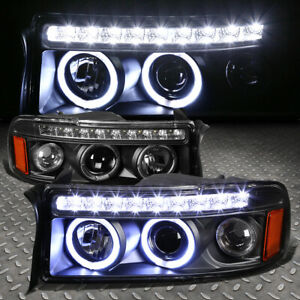 dual Halo led Drl for 1994 2002 Dodge Ram Black Amber Projector Headlights Set
