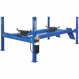 Forward Lift Blue 4 post Truck car Lift W extended Runway 14 000lb Cap
