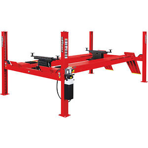 Forward Lift Red 4 post Truck car Lift W extended Runway 14 000lb Cap
