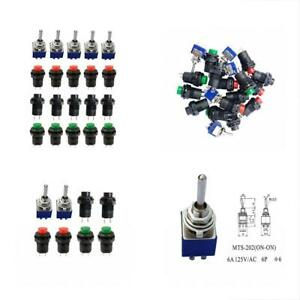 Toggle Switches 15pcs Off On Thread Spst Latching Type Push Button On On 2