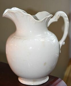 Antique Royal China International Pitcher 1800 S Off White Crazed Victorian 11 H