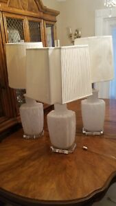 Bitossi Murano Glass Table Lamps With Lucite Base