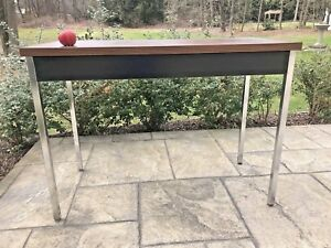 Mid Century Industrial Modern Office Console Table School Desk Chrome Legs