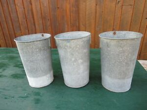 Great 3 Maple Syrup Old Galvanized Sap Tapered Buckets 13 High