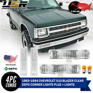 Combo Clear Front Corner Bumper Signal Lights For 83 94 Chevy Blazer