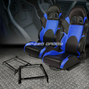 Pair Of Woven Fabric Fully Racing Seat W Bracket For 92 00 Civic Integra 2 4dr