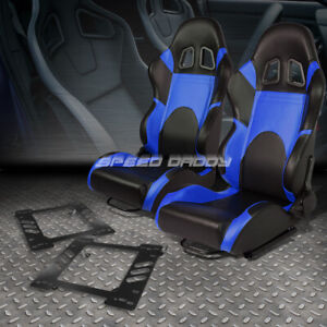 2x Woven Fabric Fully Reclinable Racing Seat W bracket For 97 06 Jeep Wrangler