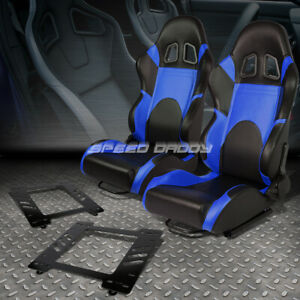 2x Woven Fabric Fully Reclinable Racing Seat Brackets For 67 69 Camaro Firebird