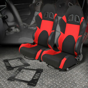 2x Woven Fabric Fully Reclinable Racing Seat W brackets For 97 06 Jeep Wrangler