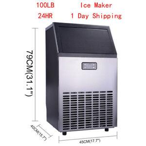 Ice Maker Stainless Steel Commercial Cube Undercounter Freestanding Machine Bar
