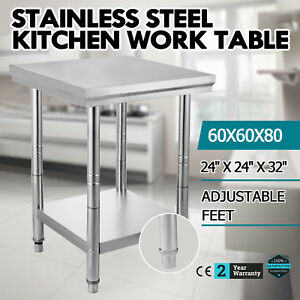 Stainless Steel Work Prep Table Kitchen Restaurant 24 X 24 Adjustable Feet New
