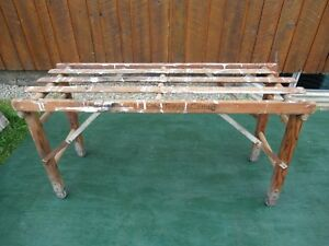 Vintage Wooden Wash Tub Bench Stand With Folding Legs 22 High