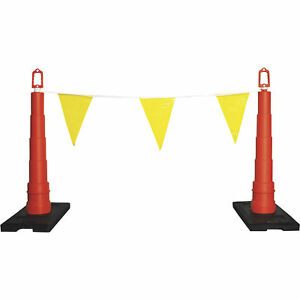 Safety Rail Company 105ft Warning Line W safety Cones flags yellow orange