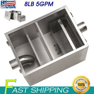 8lb 5gpm Commercial Restaurants Fat Oil Grease Trap Stainless Steel Interceptor