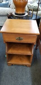 Ethan Allen Nightstand Accent Side Table Nutmeg Maple Single Drawer Stand
