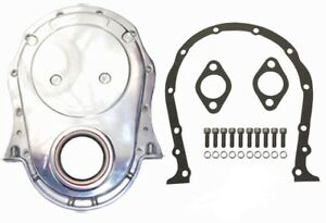 Bb Chevy Polished Aluminum Timing Cover Kit W Gaskets Bolts 396 427 454 Bbc