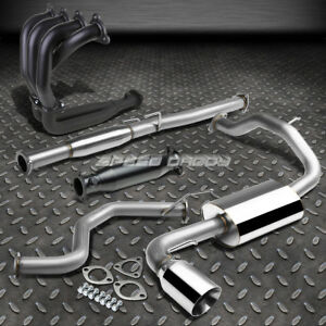 4 Rolled Tip Racing Catback black Header exhaust Pipe For 88 91 Honda Civic 3dr