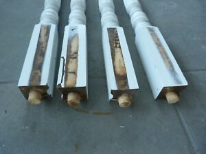 Lot 4 Antique Turned Wood Table Legs Salvage Restoration