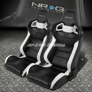 Nrg Fully Adjustable High Head Pvc Leather Bucket Racing Seats Mount Slider Rail
