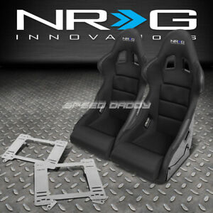 Nrg Pair Black Bucket Racing Seats Stainless Steel Bracket For Camaro Trans Am