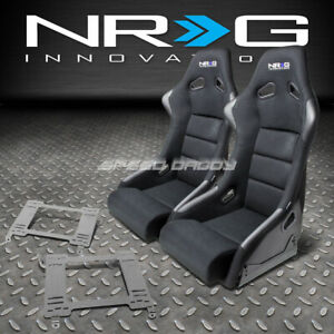 Nrg Fiberglass Bucket Racing Seats t304 Steel Mount Bracket For 90 99 Mr2 W20