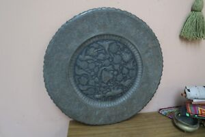 Vintage Copper Hand Etched Persian Ghalamzani 18 Wall Table Tray Birds Deer