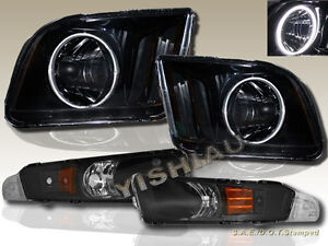 05 09 Ford Mustang Headlights Blk Super White Ccfl Halo Bumper Signal Lights